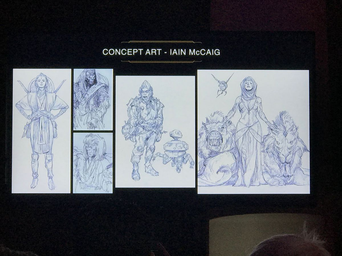 Star Wars: The High Republic concept art by Iain McCaig of costumes, Jedi, and scoundrels