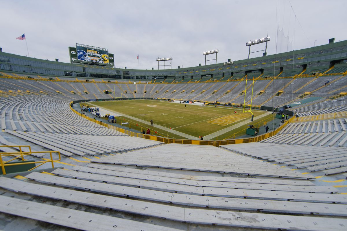 General view of Lambeau Field prior to the NFC Divisional Round playoff football game between the Seattle Seahawks an Green Bay Packers.