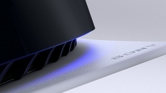 """close-up of the word """"Sony"""" engraved in one of the wings of the PlayStation 5"""