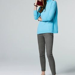 Collection cashmere mockneck sweater, Minnie pant in diamond print and stone burst earrings.