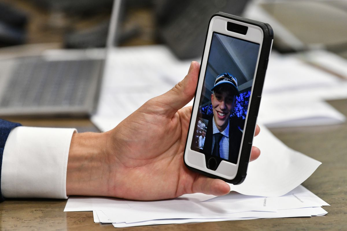San Jose Sharks Director of Scouting Doug Wilson Jr. facetimes William Eklund the seventh overall in the first round during the 2021 NHL Draft at SAP Center on July 23, 2021 in San Jose, California.