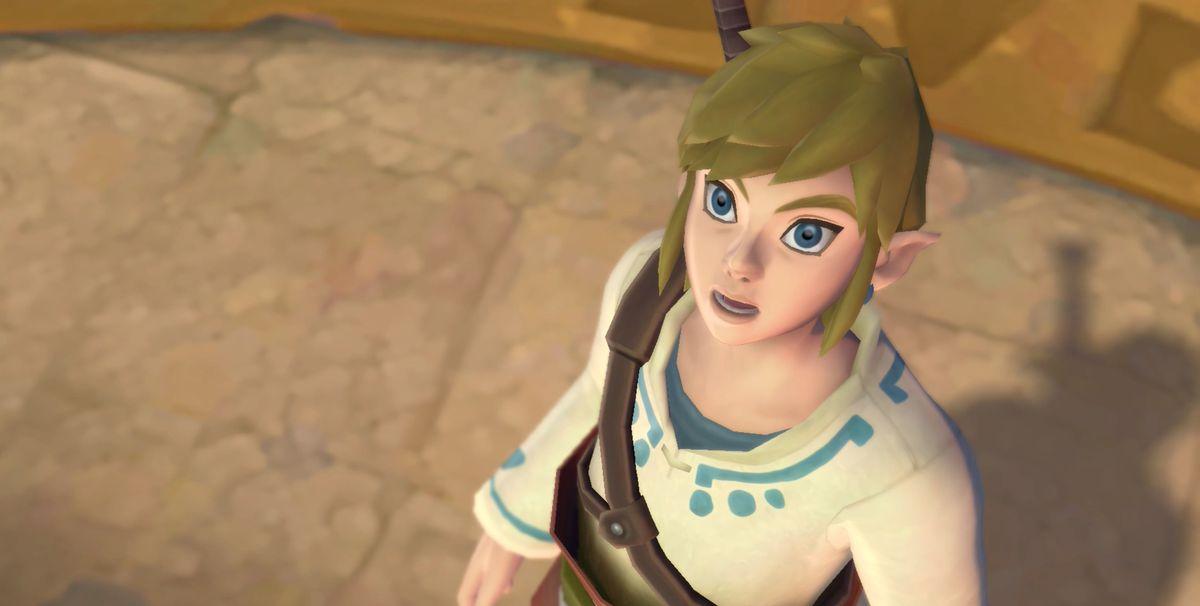 Link from Skyward Sword HD looking up in awe