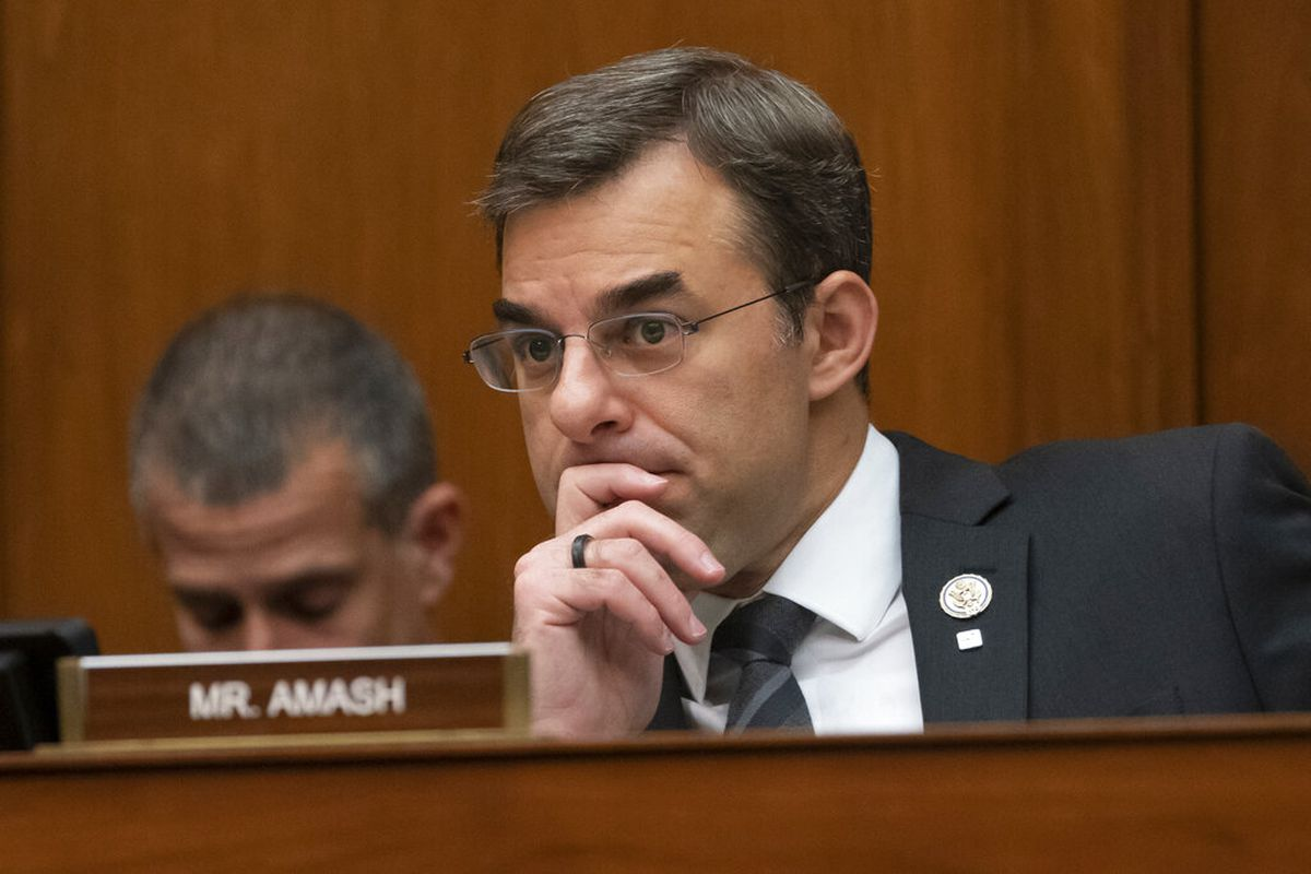 Rep. Justin Amash, R-Mich., listens to debate as the House Oversight and Reform Committee