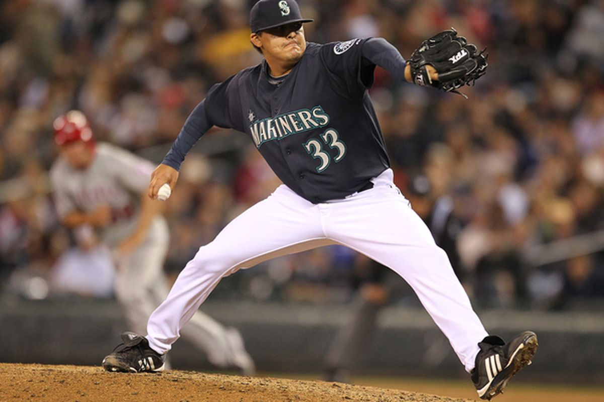 SEATTLE - JUNE 04:  Reliever Chad Cordero #33 of the Seattle Mariners pitches against the Los Angeles Angels of Anaheim at Safeco Field on June 4, 2010 in Seattle, Washington. (Photo by Otto Greule Jr/Getty Images)