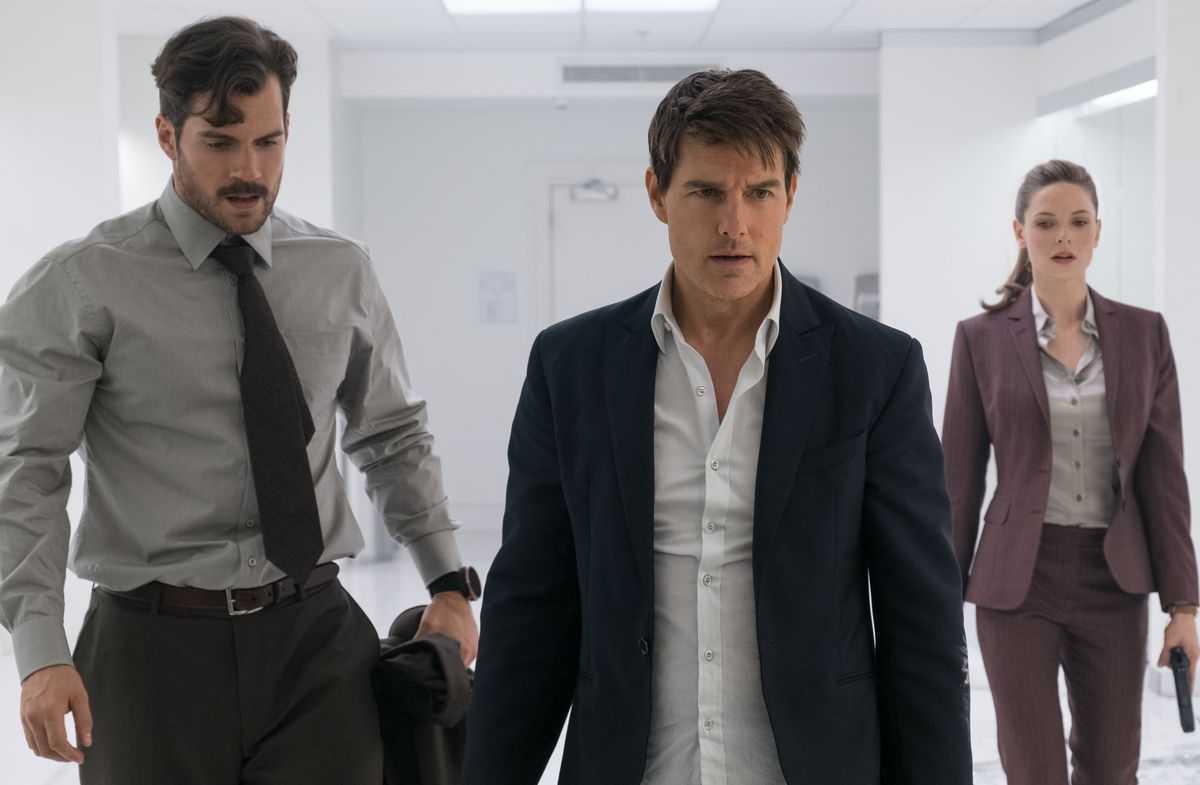"""Henry Cavill (from left), Tom Cruise and Rebecca Ferguson in """"Mission: Impossible — Fallout.""""   PARAMOUNT PICTURES"""