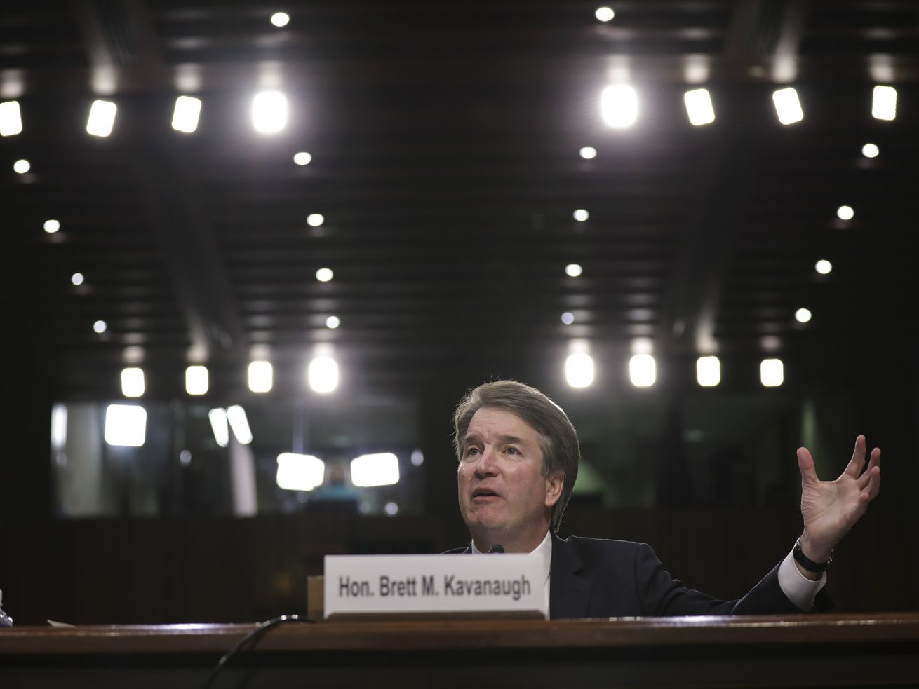 Supreme Court nominee Brett Kavanaugh testifying before the Senate Judiciary Commitee in September 2018.
