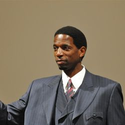 Former NBA all-star A.C. Green during appearance March 30, 2012 at Utah State University?s Jon M. Huntsman School of Business.