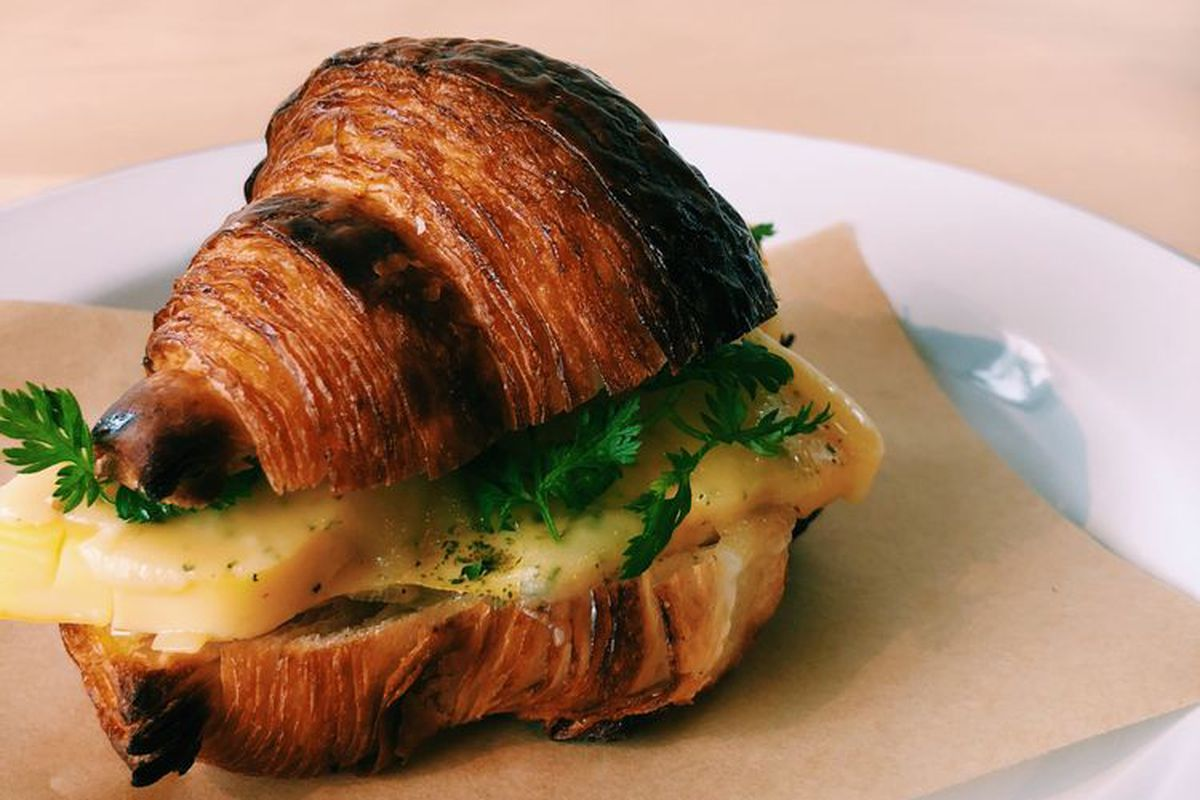 Egg and cheese croissant at Root Baking Co.