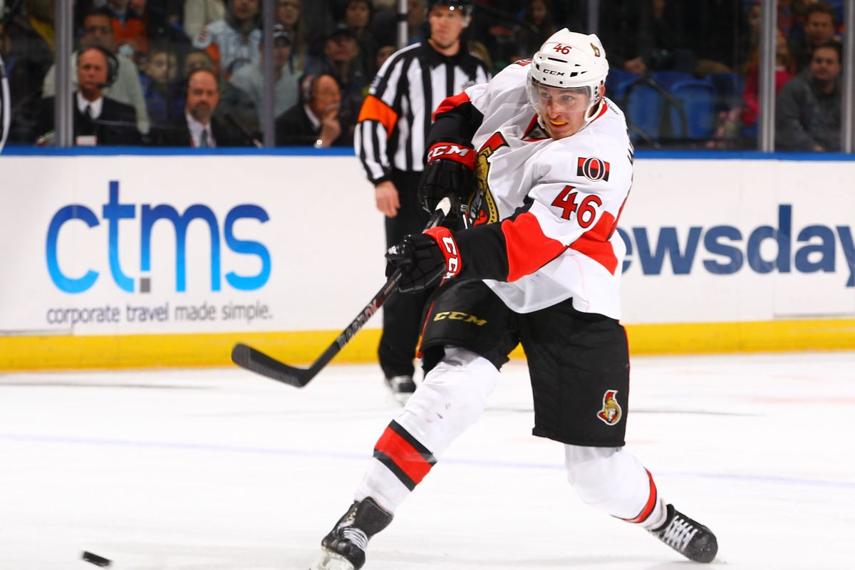 """Patrick Wiercioch, about to score the elusive thing known to Senators fans as a """"goal."""""""