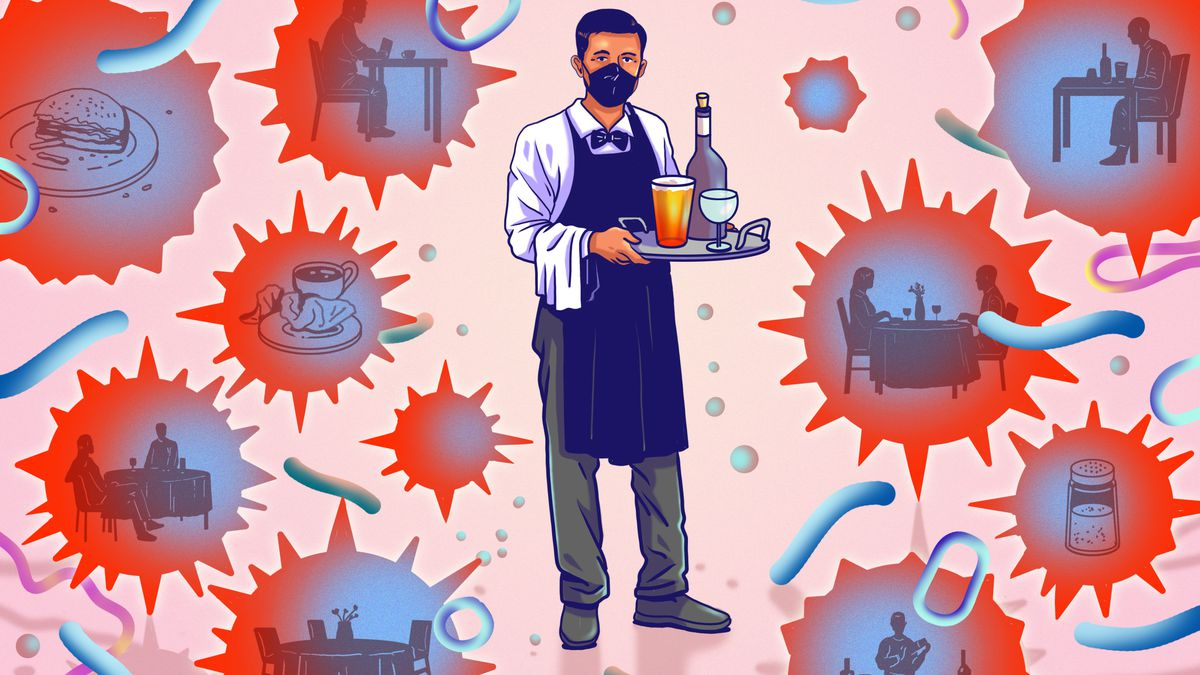 Illustration of a waiter wearing a mask and carrying a tray, surrounded by germ bubbles containing images of restaurant food and people dining.