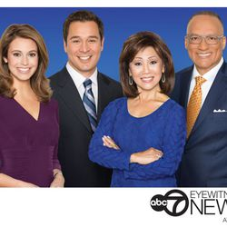 Linda Yu and Jim Rose with their ABC7 colleagues Cheryl Scott and Rob Elgas.