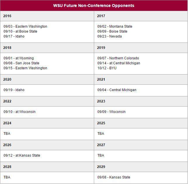 WSU football schedules