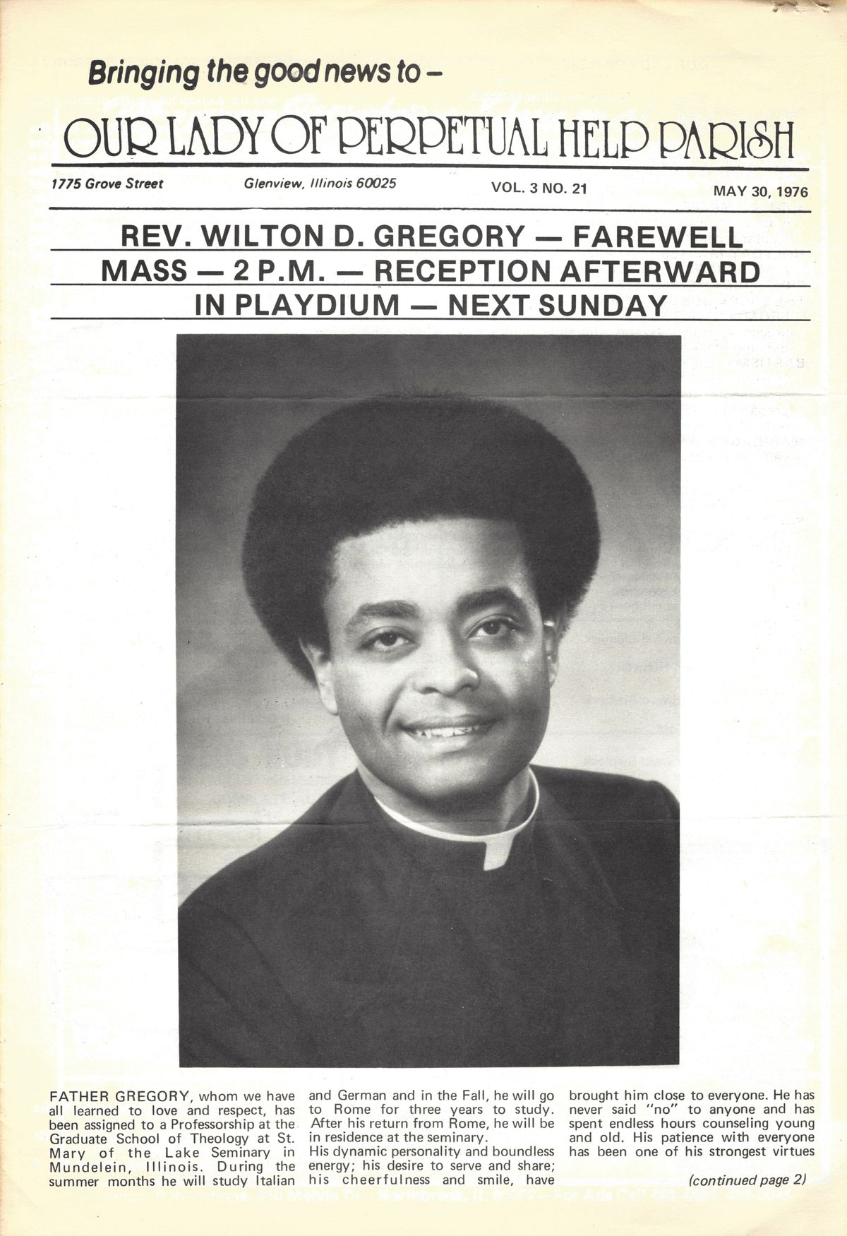 Wilton Gregory Farewell Mass, Our Lady of Perpetual Help Parish, Glenview, 1976.