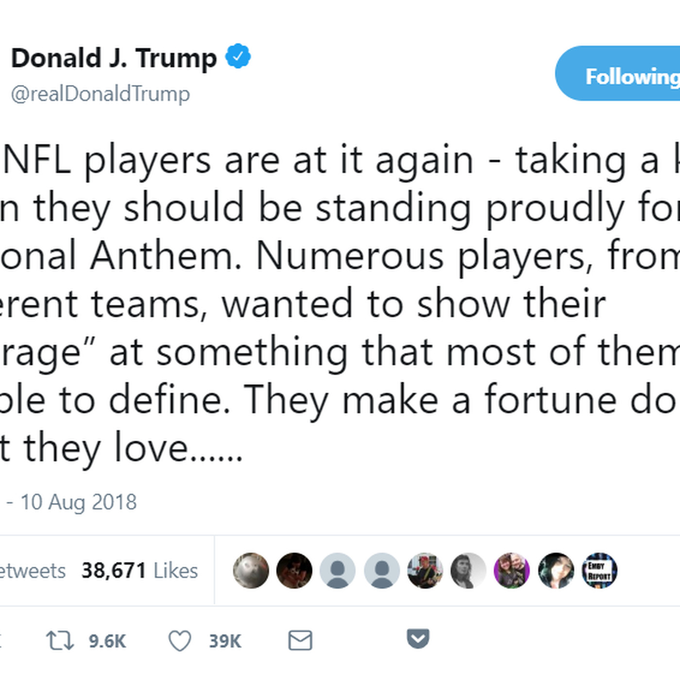 b85e3e481 Trump is still tweeting about the NFL national anthem protests - Vox