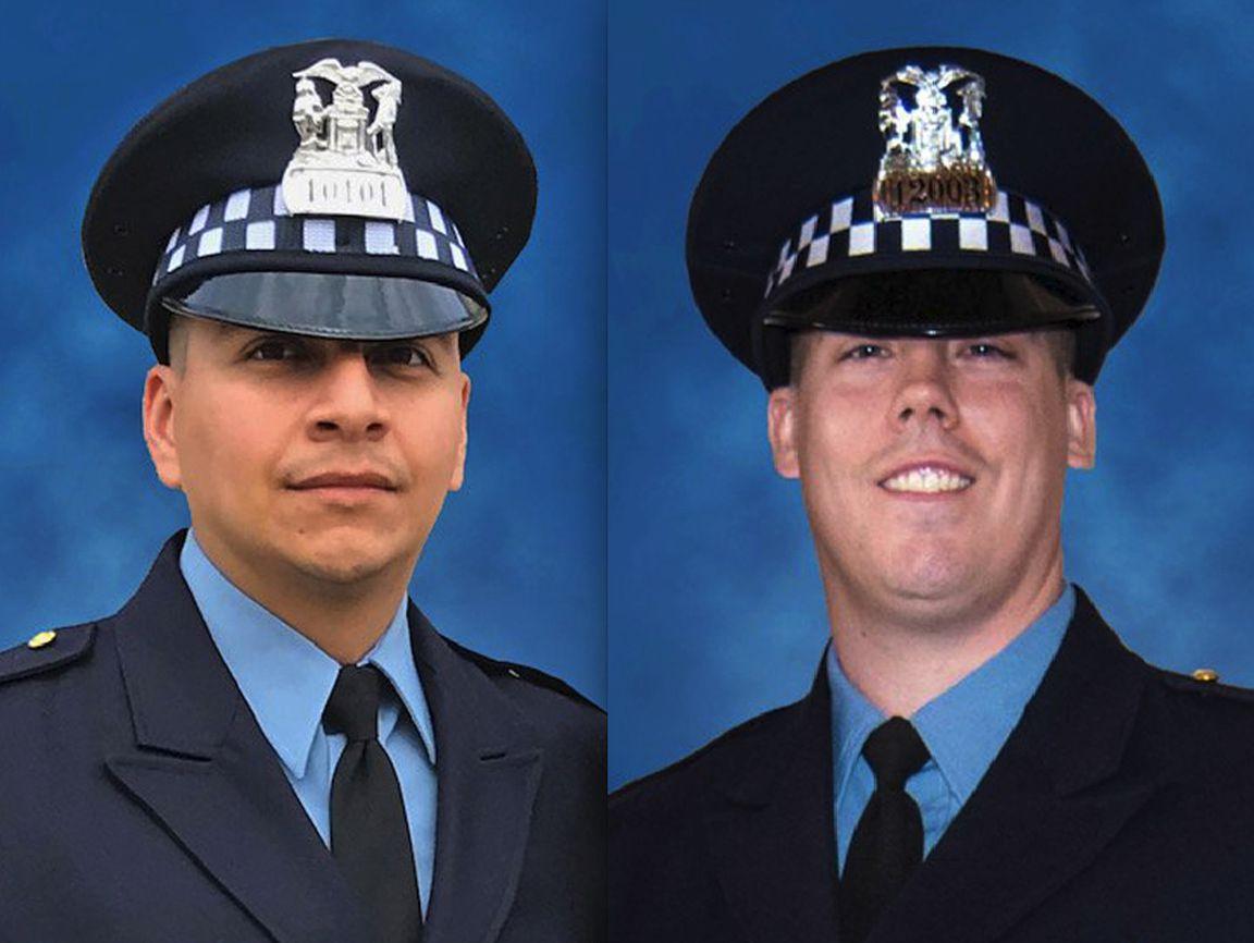 Chicago Police Officer Eduardo Marmolejo, left, and Conrad Gary.