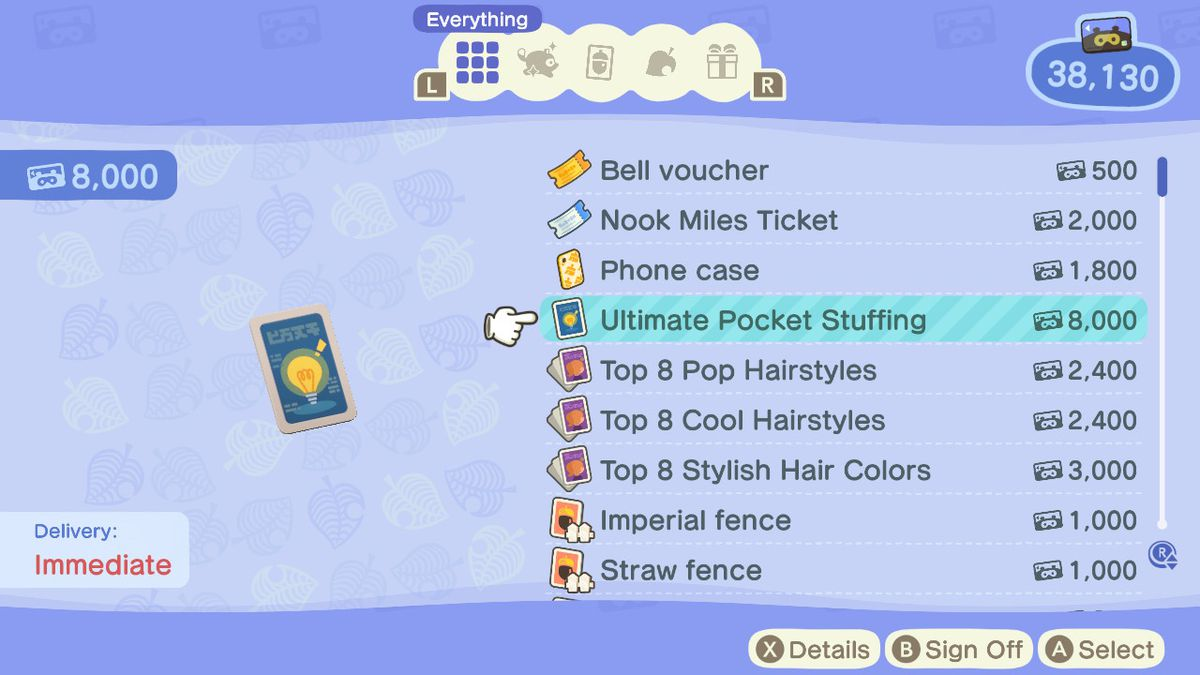 Showing the last inventory upgrade in Animal Crossing New Horizons