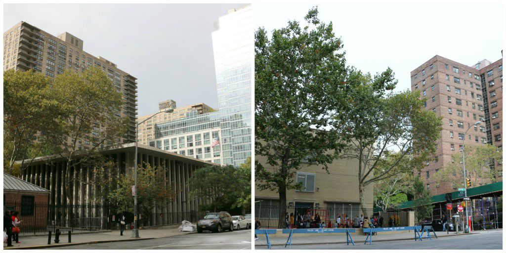 """P.S. 199 (left) is a top-ranked school surrounded by pricey residential buildings. P.S. 191, which serves many students from the Amsterdam Houses (far right), has struggled low test scores and a """"persistently dangerous"""" designation by the state."""