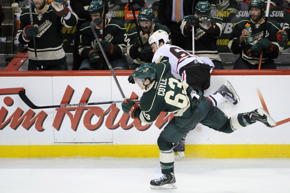 Charlie Coyle brings a new number into this new season. Hope you didn't buy this sweater last year!