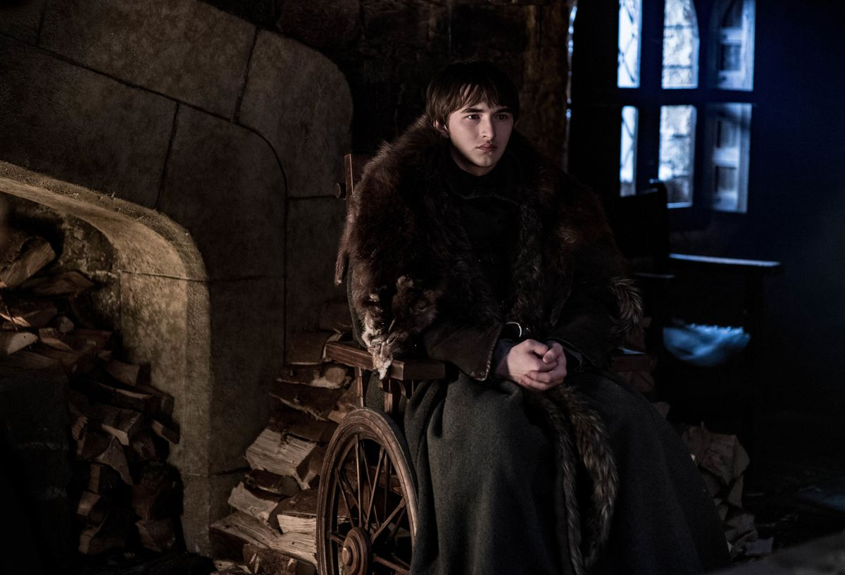 Game of Thrones season 8 episode 2 - Bran sitting by a fireplace