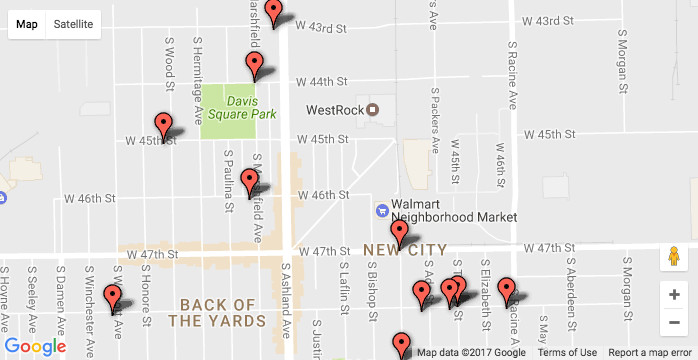Shootings in the Back of the Yards neighborhood in 2017 / Sun-Times data