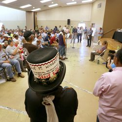 Hundreds fill a small hall in Bluff with Interior Secretary Sally Jewell discussing the proposed Bears Ears National Monument in southern Utah on Saturday, July 16, 2016.