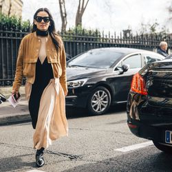 Bomber jackets remain a popular street style staple in Paris.