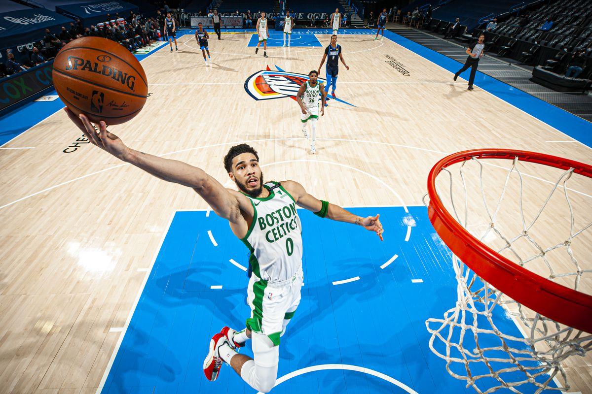 Jayson Tatum of the Boston Celtics dunks the ball during the game against the Oklahoma City Thunder on March 27, 2021 at Chesapeake Energy Arena in Oklahoma City, Oklahoma.