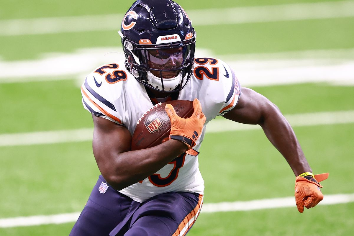 Tarik Cohen #29 of the Chicago Bears runs for a first down during the third quarter of the game against the Detroit Lions at Ford Field on September 13, 2020 in Detroit, Michigan.