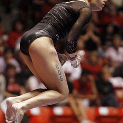 Utah's Hailee Hansen performs on the bars at the NCAA Salt Lake Regional Gymnastics Saturday, April 7, 2012 in Salt Lake City.