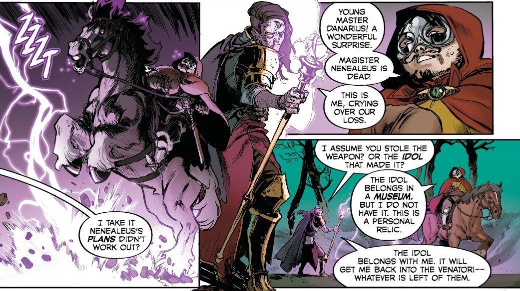 Danarius, the Tewinter Wizard, asks the treasure hunter to turn the