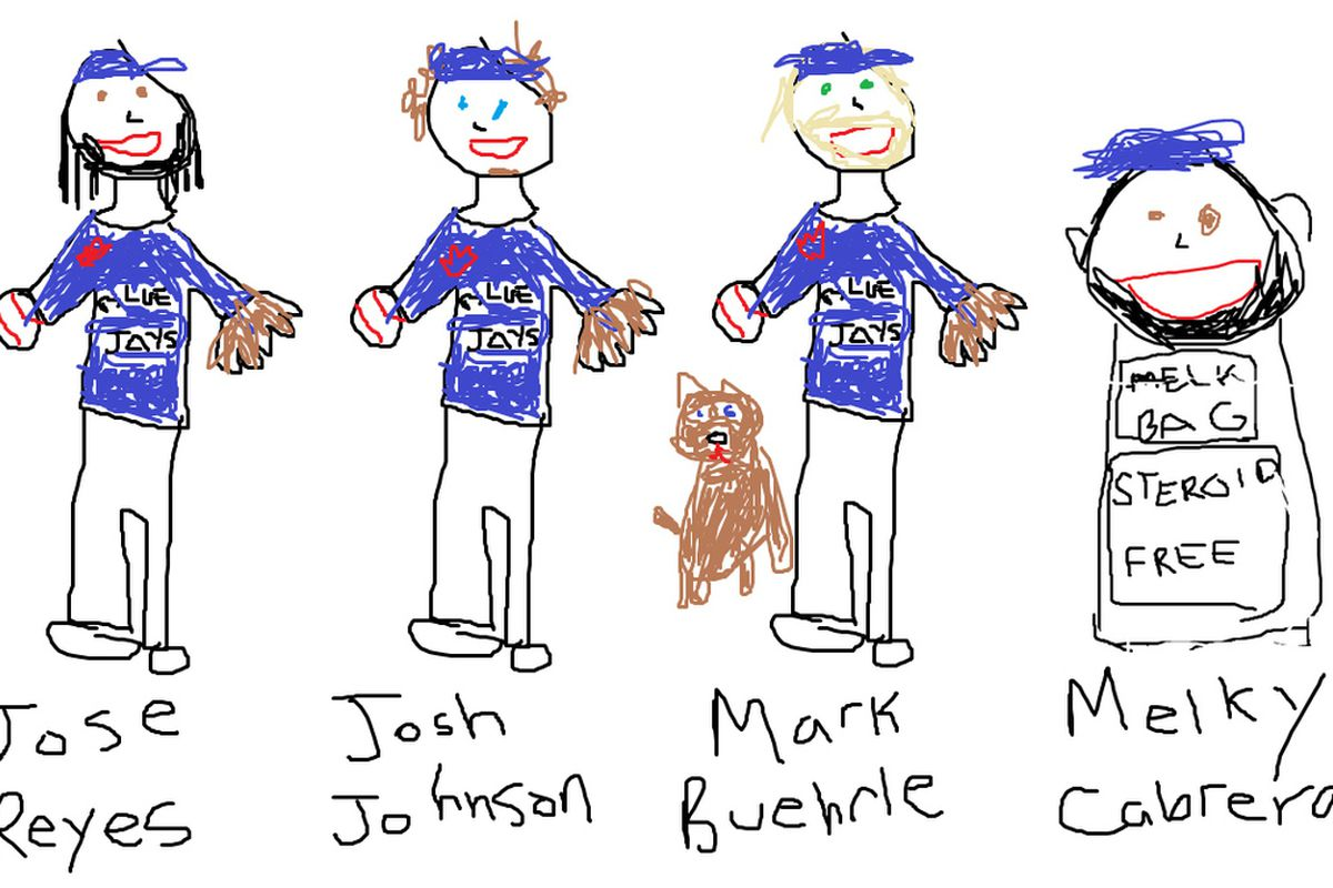 Meet the happy new members of the Blue Jays family. For those wondering, Melky is a steroid-free bag of melk.