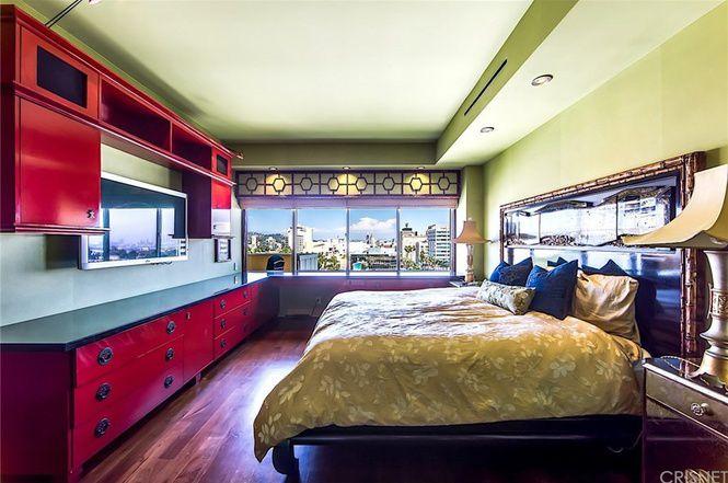 Bedroom with wide window panel