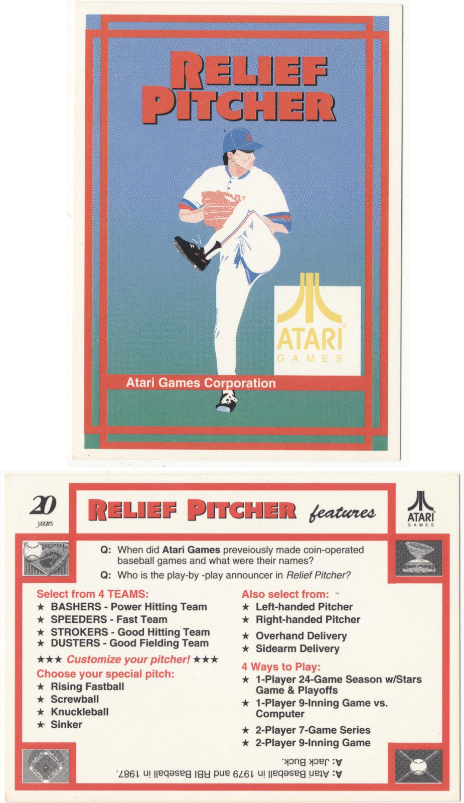 <em>A limited-edition baseball card (typos and all) produced by Atari to market thegame.</em>