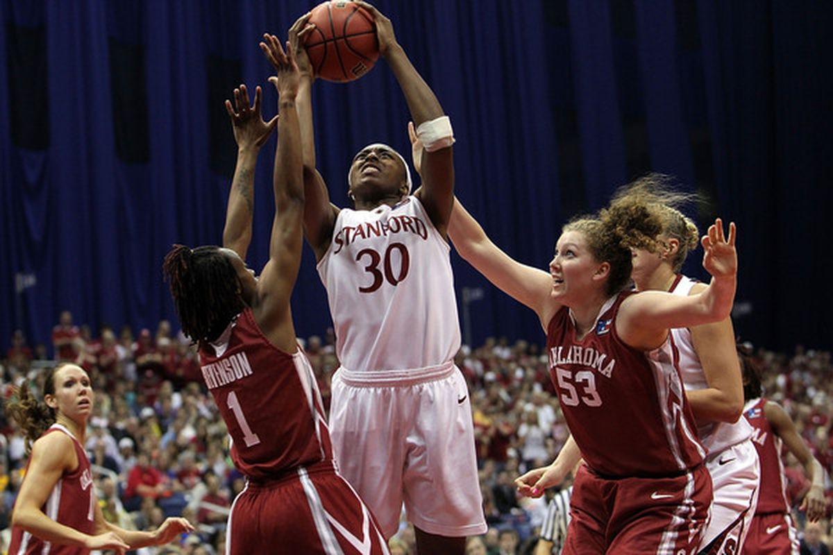 Nneka Ogwumike, pictured during last year's NCAA tournament, scored 20 points in Stanford's 63-50 season-opening win against Rutgers.
