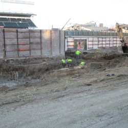 Excavation work in right field