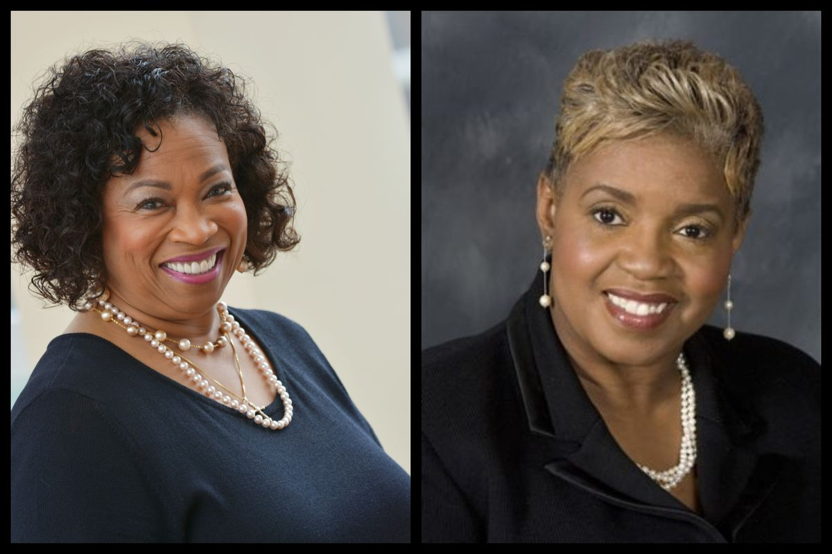 School board candidates Corletta Vaughn (L) and Deborah Hunter-Harvill, the incumbent, are in the lead with 87 percent of Detroit precincts reporting.