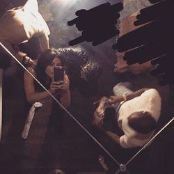 Kim Kardashian at a late night Balmain fitting getting the finishing touches on her dress.