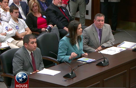 Speaking against the proposal are (from left) Ben Torres of the Tennessee Schools Boards Association, Jenny Hill of Hamilton County Schools, and Dale Lynch of the Tennessee Organization of School Superintendents.