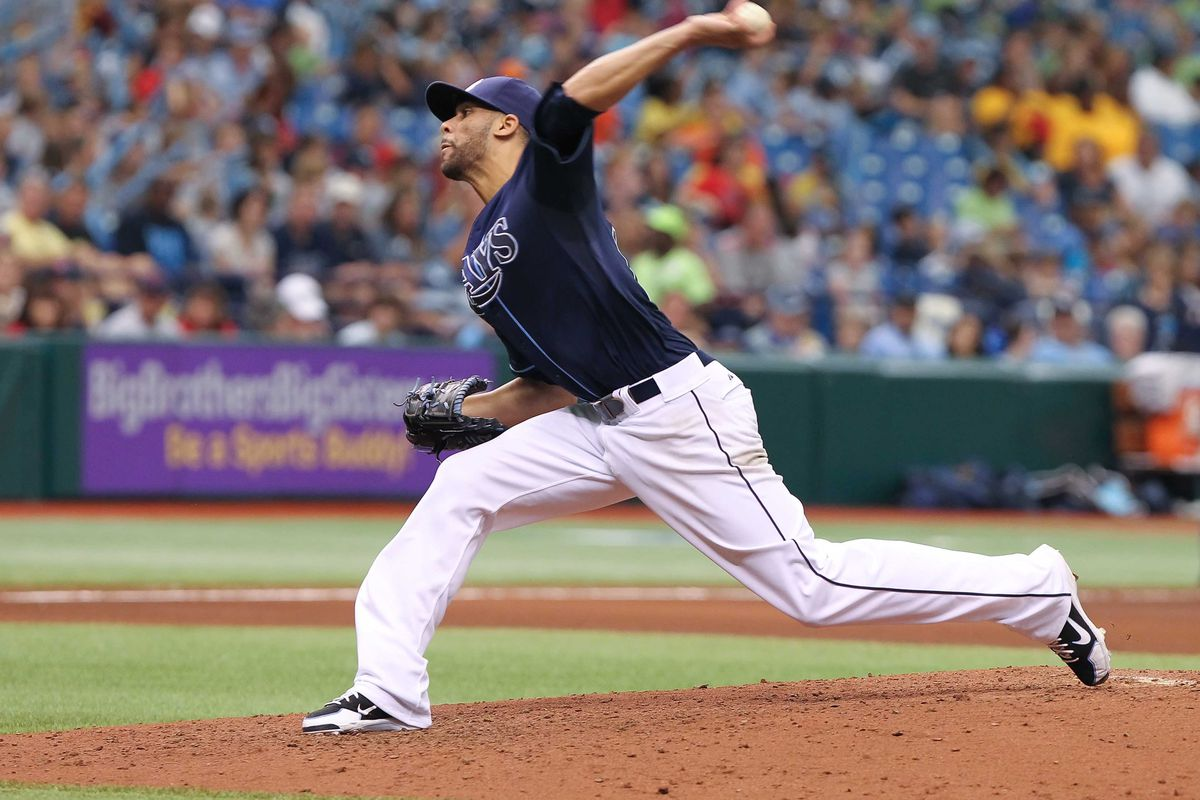 July 19, 2012; St. Petersburg, FL, USA; Tampa Bay Rays starting pitcher David Price (14) throws a pitch against the Cleveland Indians at Tropicana Field. Mandatory Credit: Kim Klement-US PRESSWIRE