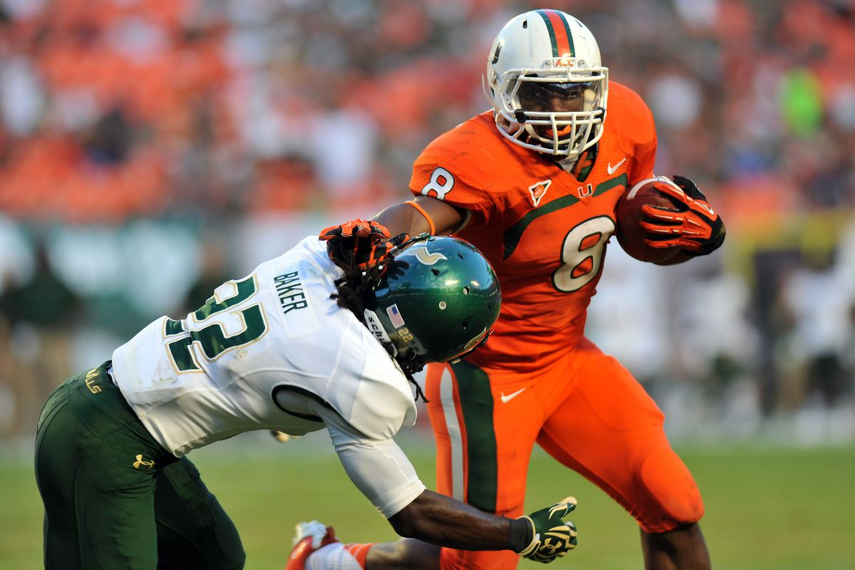 Duke Johnson uses his stiff arm ability to fight his way to the top of the NCAA Football '14 rankings on UM