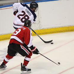 UConn's Joey Ferris (28) skates along the boards.