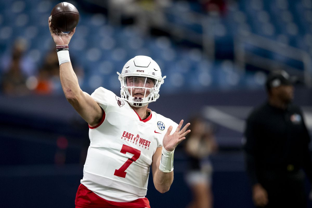 Team East quarterback Tommy Stevens warms up prior to the game between the Team East and the Team West at Tropicana Field.