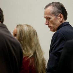 Martin MacNeill stands while awaiting the arrival of the jury before proceedings in Provo's 4th District Court on Tuesday, Nov. 5, 2013. MacNeill is charged with murder in the 2007 death of his wife, Michele MacNeill.