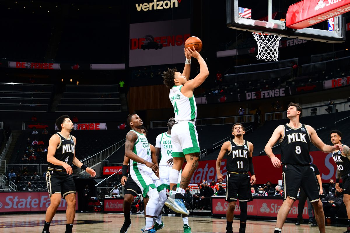 Carsen Edwards #4 of the Boston Celtics shoots the ball during the game against the Atlanta Hawks on February 24, 2021 at State Farm Arena in Atlanta, Georgia.