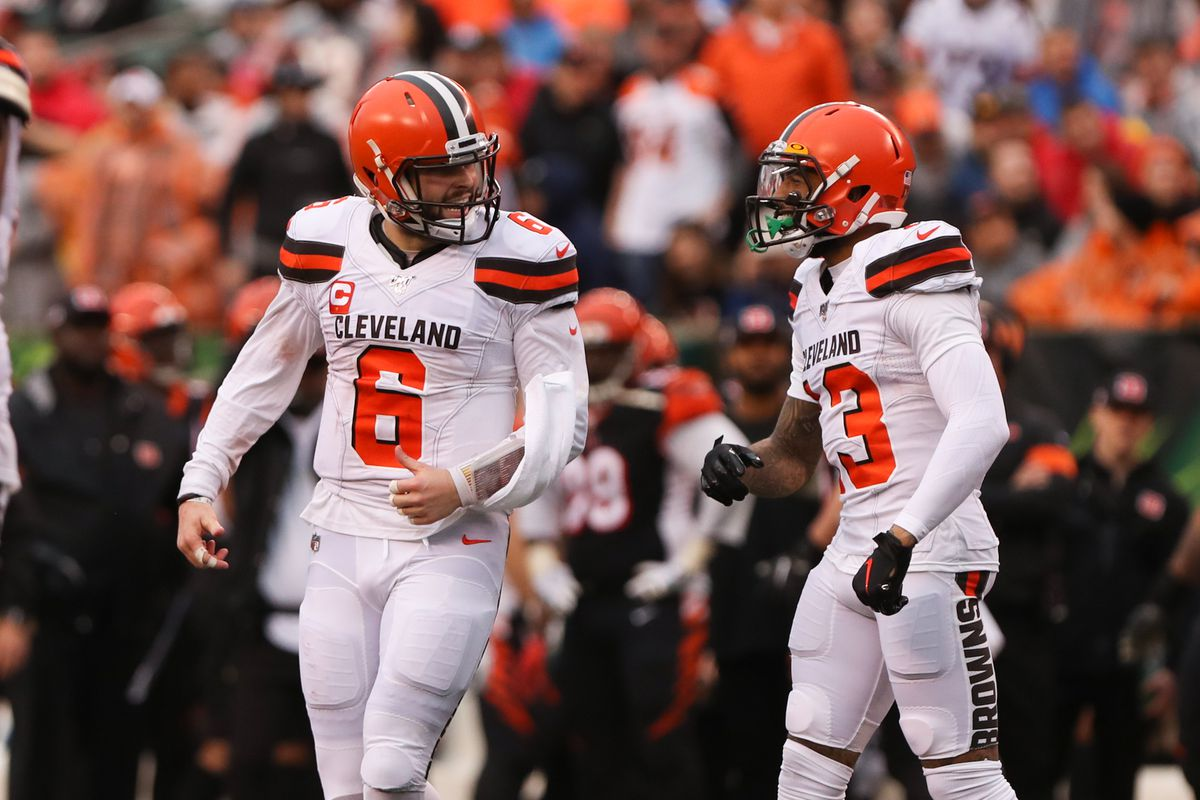 Cleveland Browns quarterback Baker Mayfield reacts with wide receiver Odell Beckham during the game against the Cleveland Browns and the Cincinnati Bengals on December 29th 2019, at Paul Brown Stadium in Cincinnati, OH.