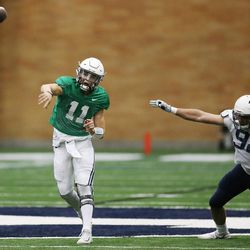 Brigham Young Cougars quarterback Zach Wilson (11) throws during an intersquad scrimmage in Provo on Friday, March 23, 2018.