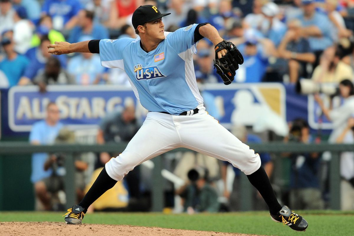 July 8, 2012; Kansas City, MO, USA; USA pitcher Jameson Taillon throws a pitch during the 2012 All Star Futures Game at Kauffman Stadium.  Mandatory Credit: Denny Medley-US PRESSWIRE