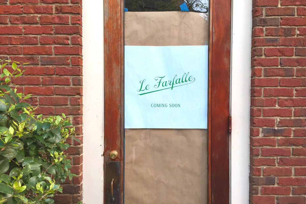 The door to upcoming Le Farfalle.