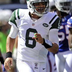 ADVANCE FOR WEEKEND EDITIONS, SEPT. 15-16 - In this photo taken Sept 9, 2012, New York Jets quarterback Mark Sanchez celebrates after throwing a touchdown pass to wide receiver Jeremy Kerley during the first half of an NFL football game against the Buffalo Bills at MetLife Stadium in East Rutherford, N.J. Sanchez sent a message to his critics with a terrific performance against the Bills that left no doubt: He's the undisputed leader of this team.