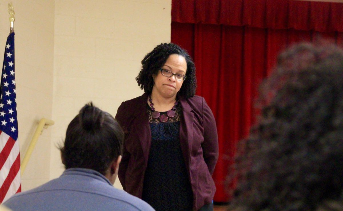 ASD Superintendent Malika Anderson listens to parents' concerns in January at Gestalt's Klondike Elementary, which will close this spring due to low enrollment.